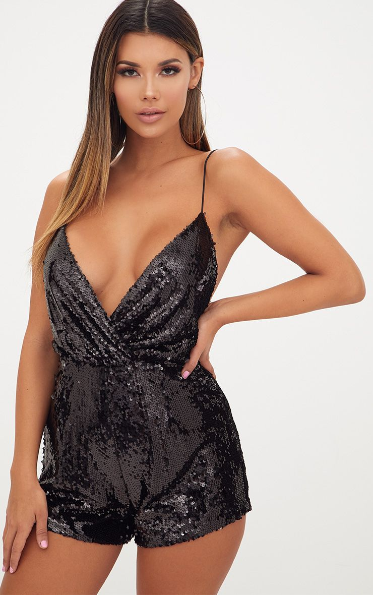 Black Strappy Sequin Wrap Playsuit