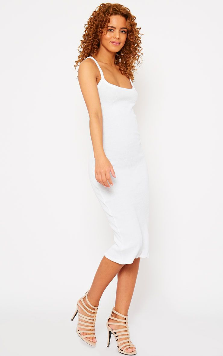 Tasmine White Ribbed Midi Dress 1