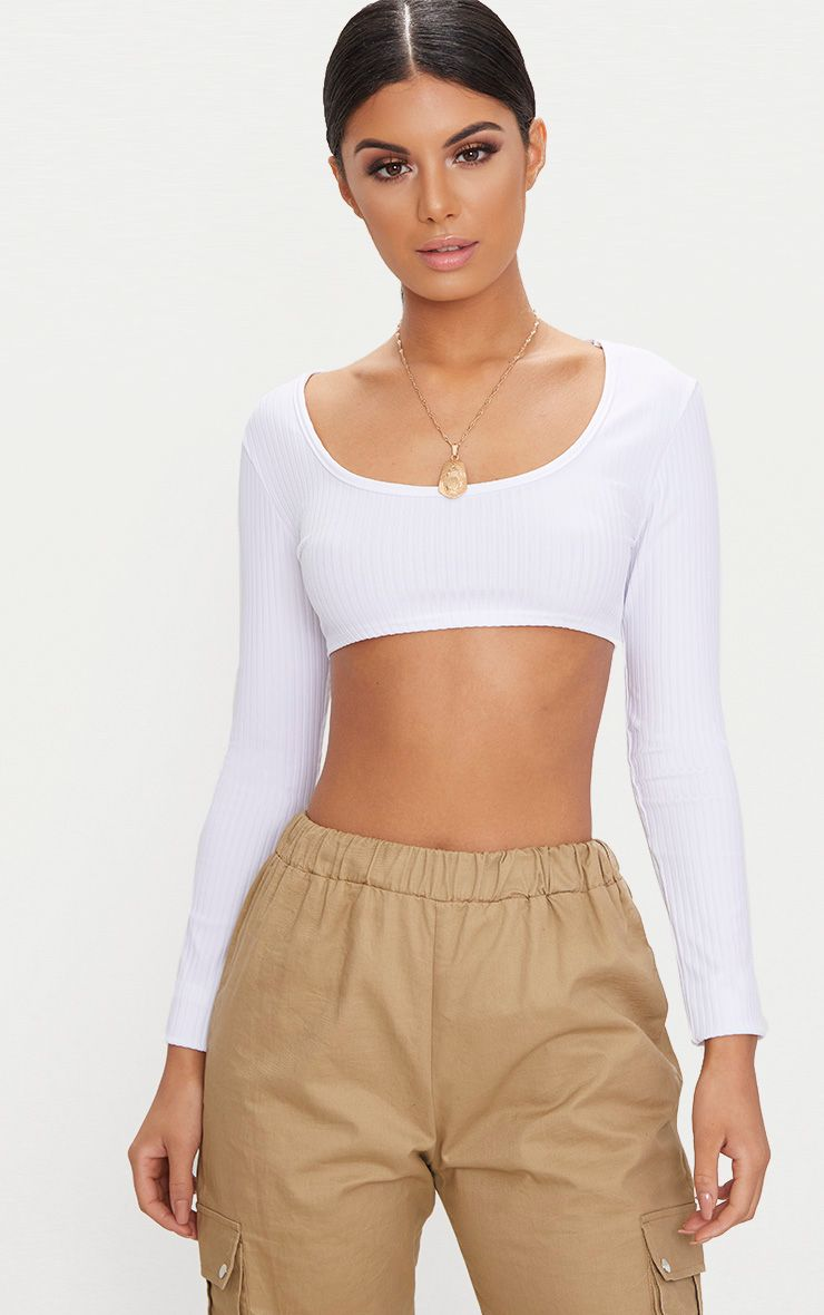 BASIC WHITE RIB LONGSLEEVE CROP TOP