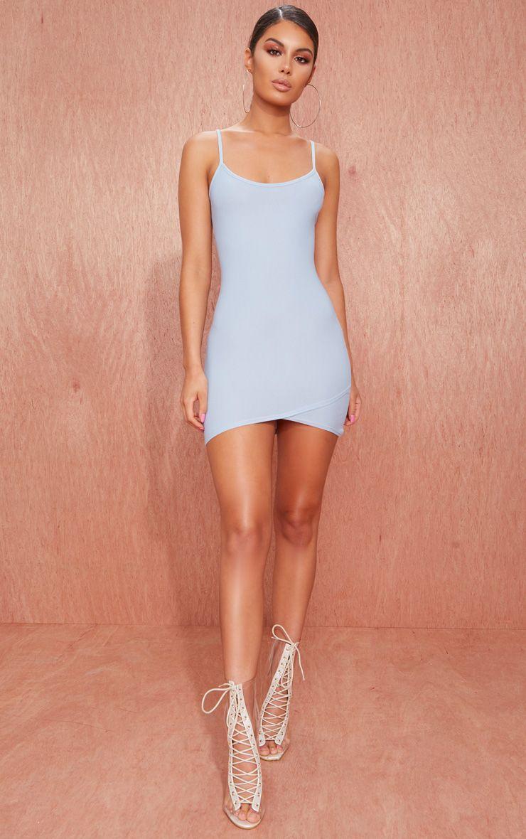 Dusty Blue Strappy Wrap Skirt Bodycon Dress