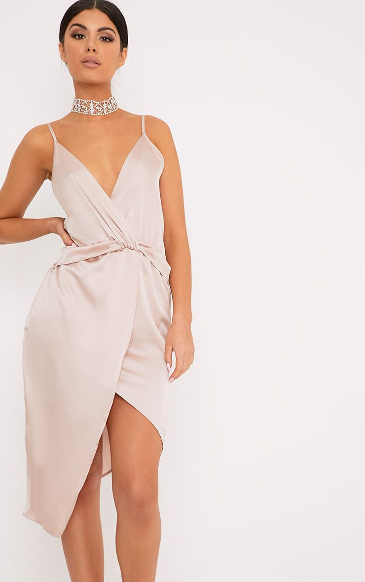 Kala Champagne Satin Twist Front Midi Dress
