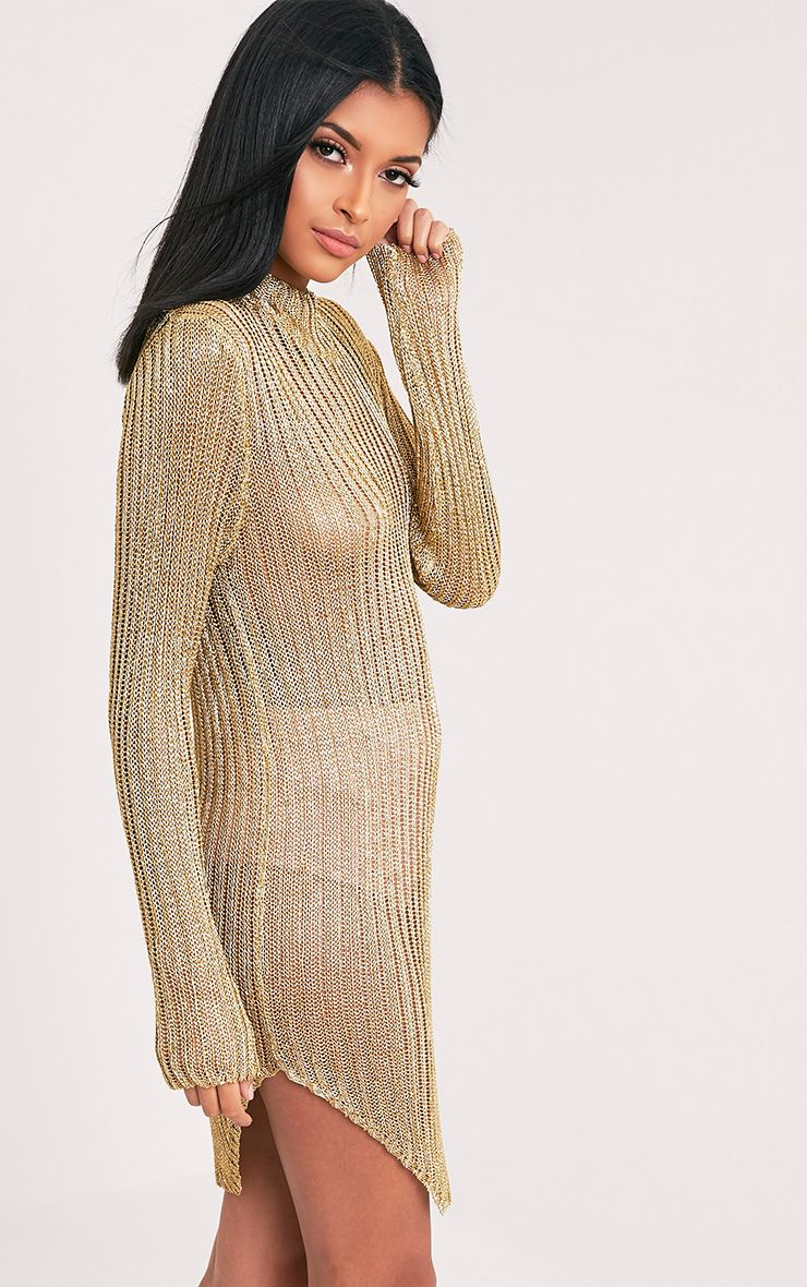 Haisley Metallic Gold Knitted Curved Hem Sheer High Neck Jumper