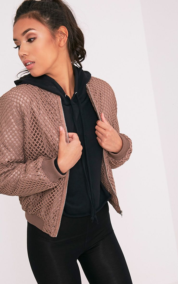 Fryna Brown Fishnet Detail Padded Bomber Jacket