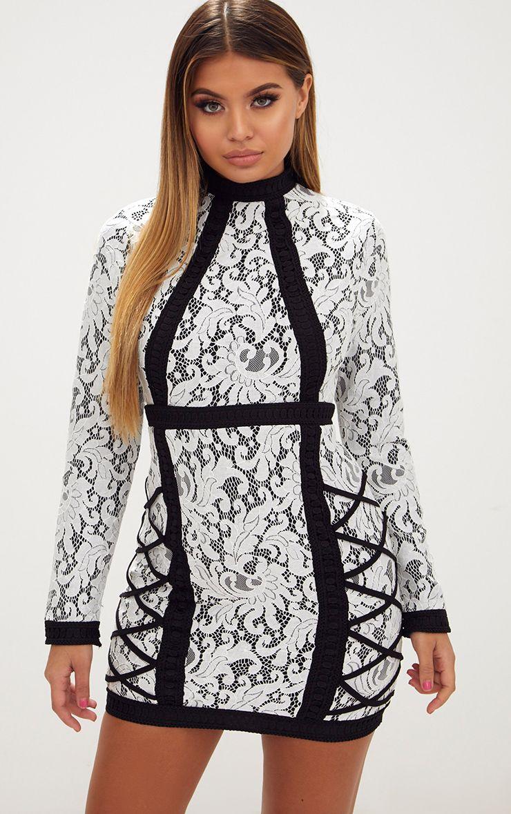 White High Neck Lace Lattice Detail Bodycon Dress