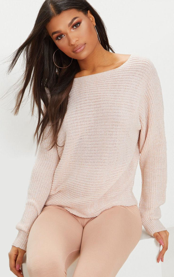 Pink Batwing Fisherman Jumper