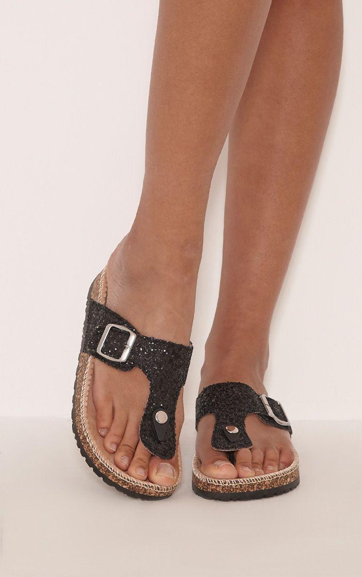 Emiliya Black Glitter Strap Sandals