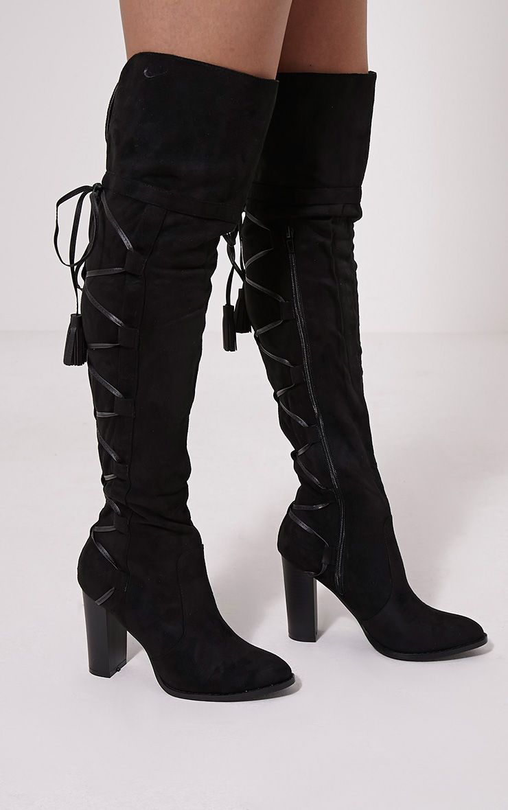 Amey Black Faux Suede Tassel Over The Knee Boots 1