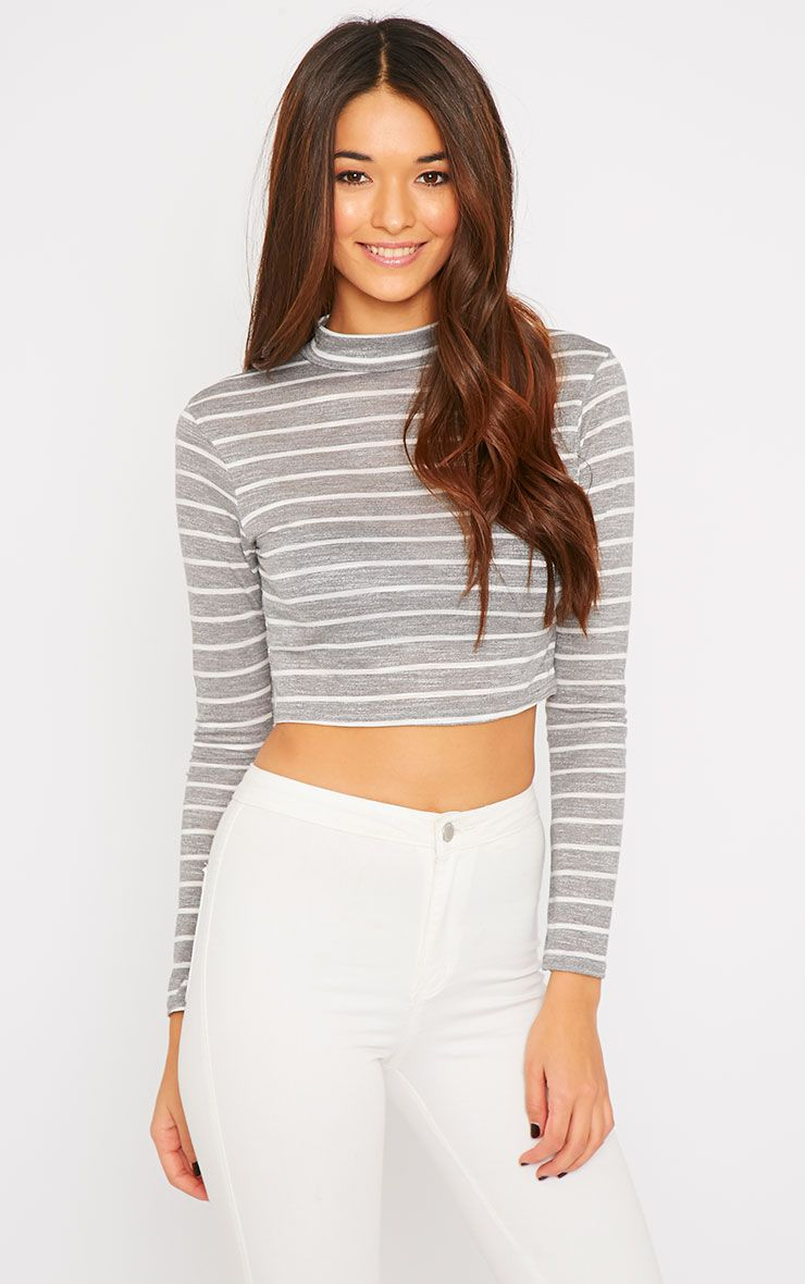 Violet Grey Stripe Turtle Neck Crop Top  1