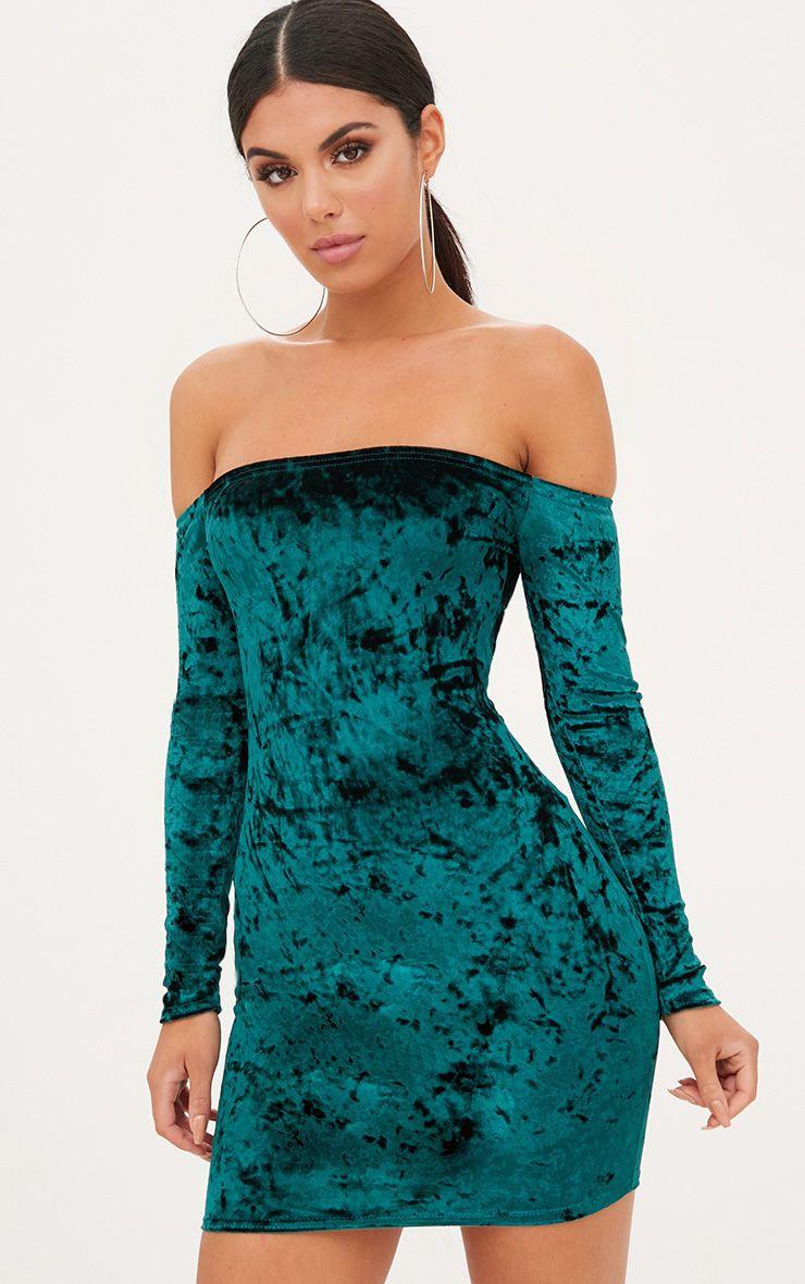 Emerald Green Crushed Velvet Bardot Bodycon Dress