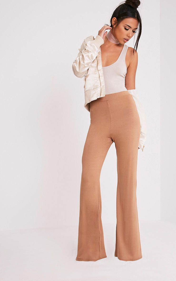 Basic Camel Jersey Wide Leg Trousers