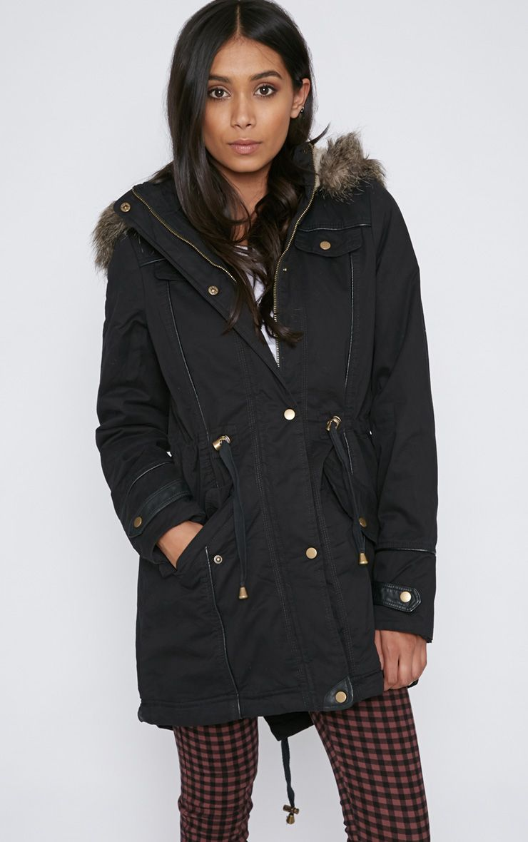 Chiara Black Parka With Fur Hood  1