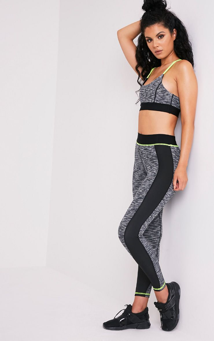 Eliza Neon Yellow Marl Panelled Gym Leggings
