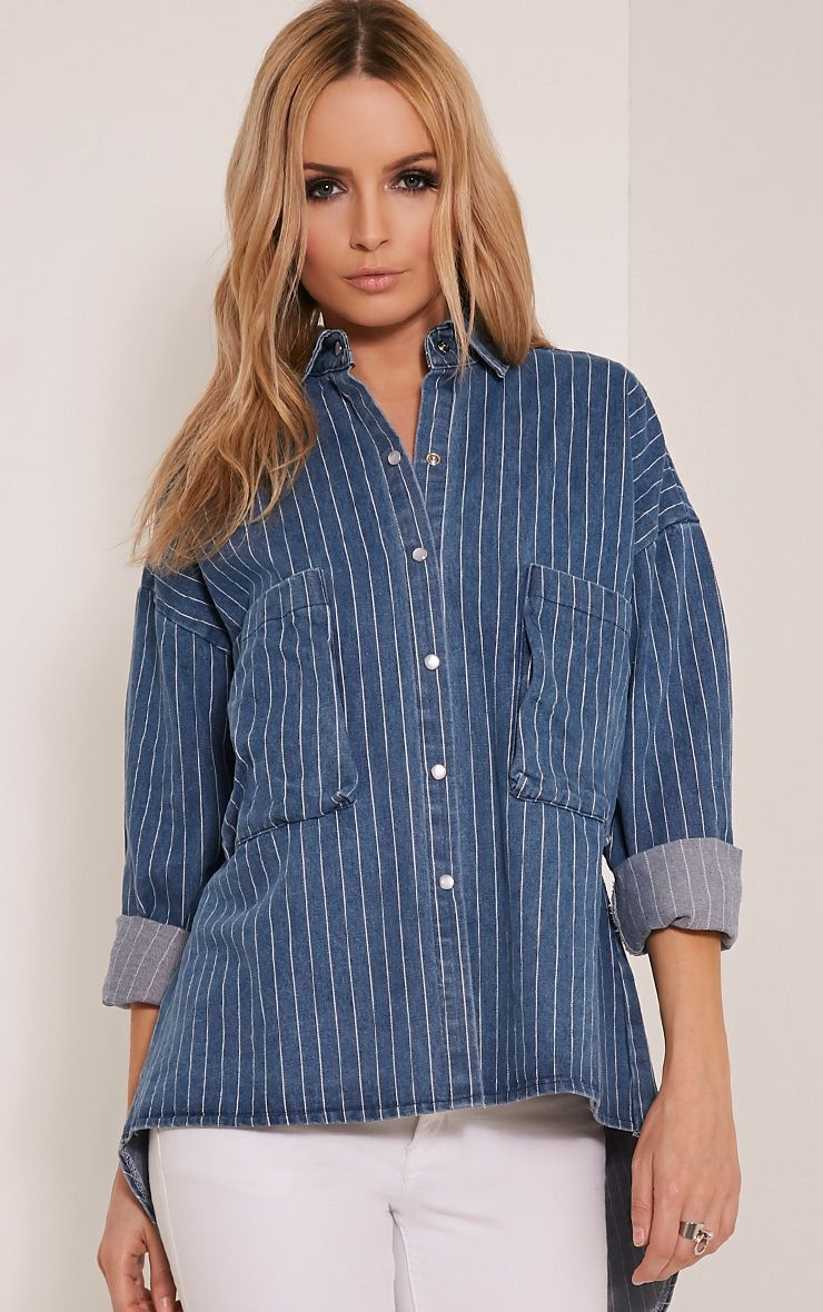 Maribelle Light Wash Stripe Denim Shirt 1