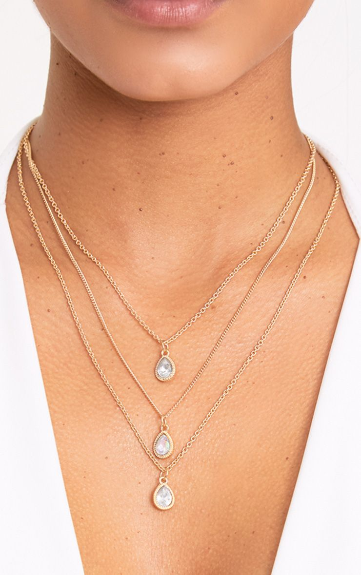 Rea Gold Layered Tear Drop Jewel Necklace