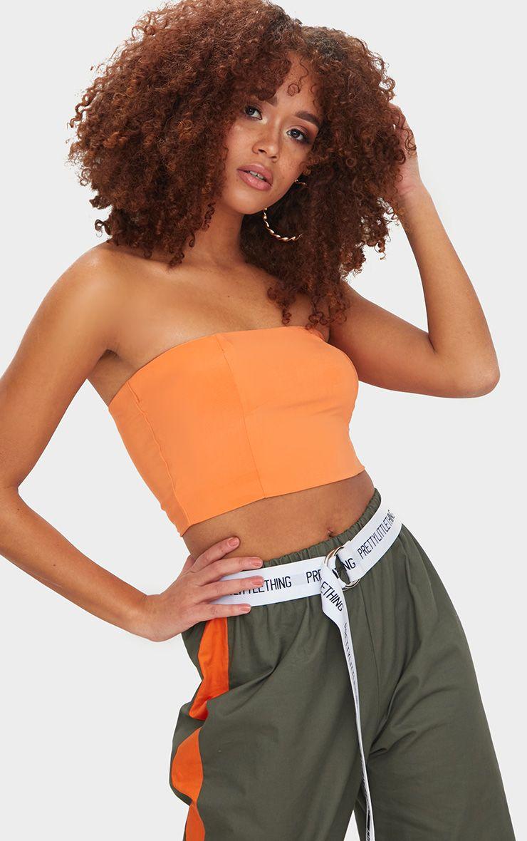 Tangerine Slinky Bandeau Crop Top