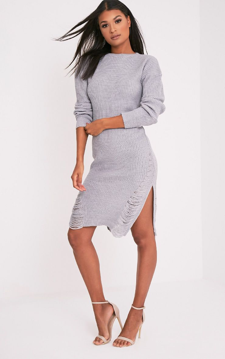 Kionae Grey Frayed Overesized Knitted  Dress 1