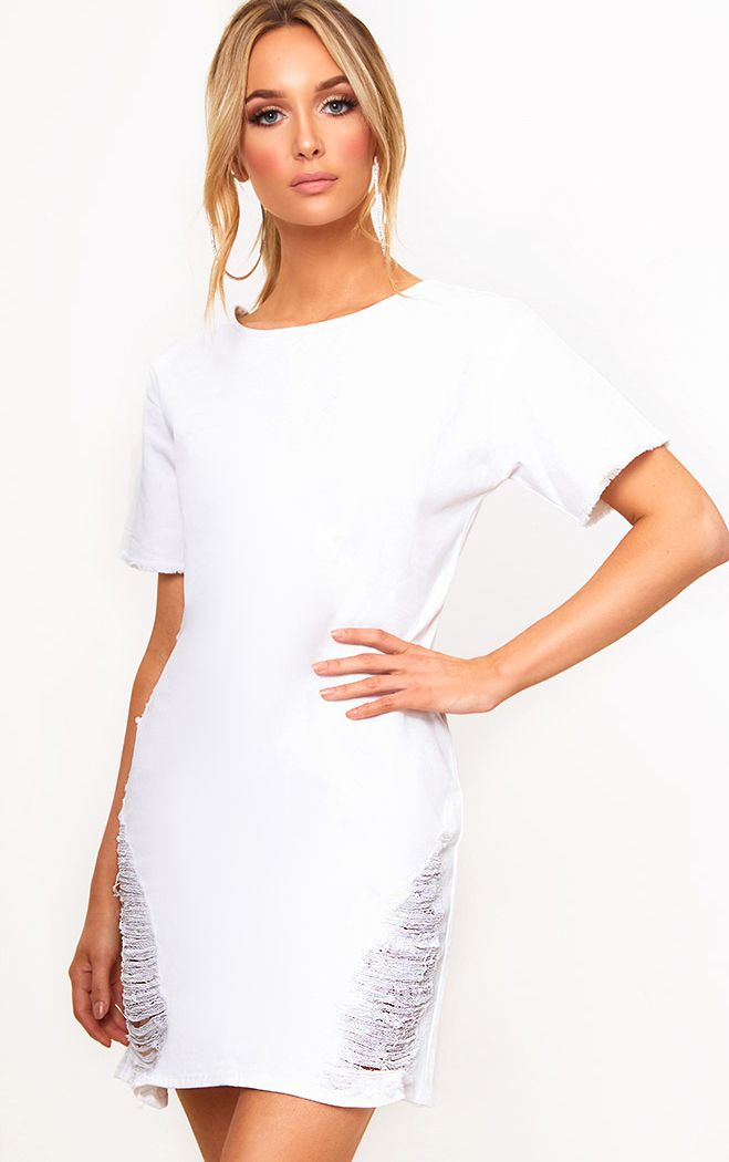 White Super Shred Denim Mini Dress