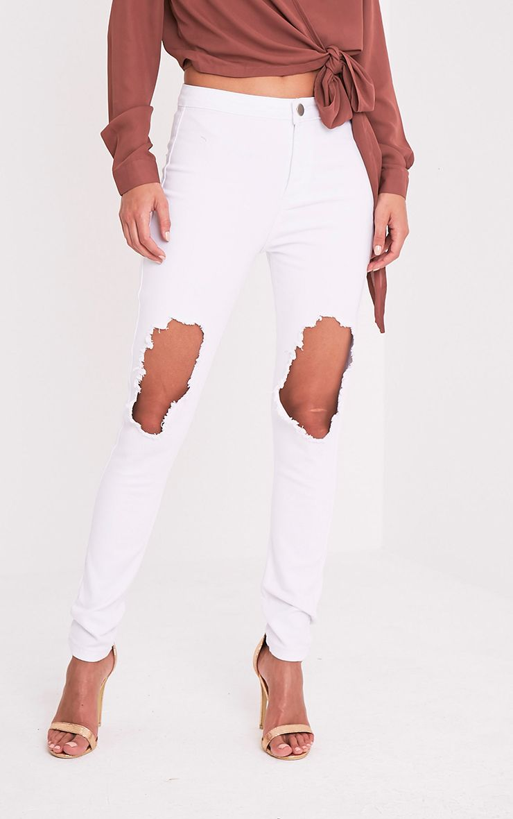 Kylie White Open Knee Rip High Waisted Skinny Jean