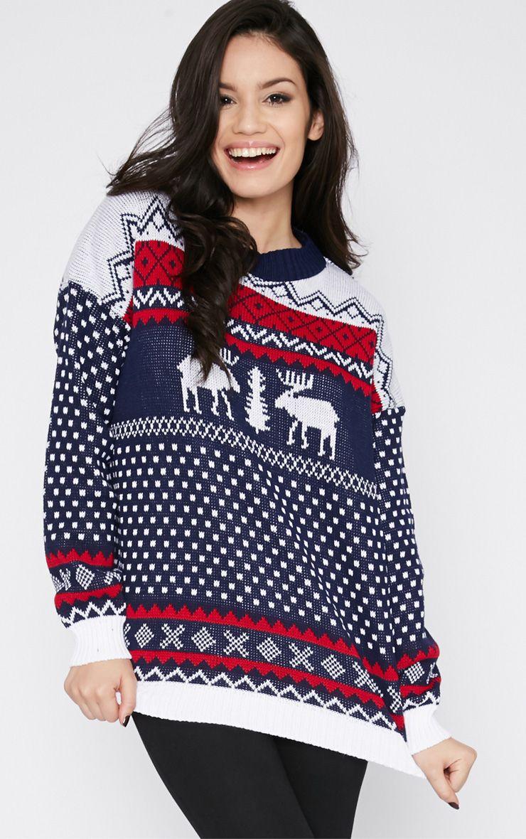 Rune Navy Fairisle Reindeer Christmas Jumper 1