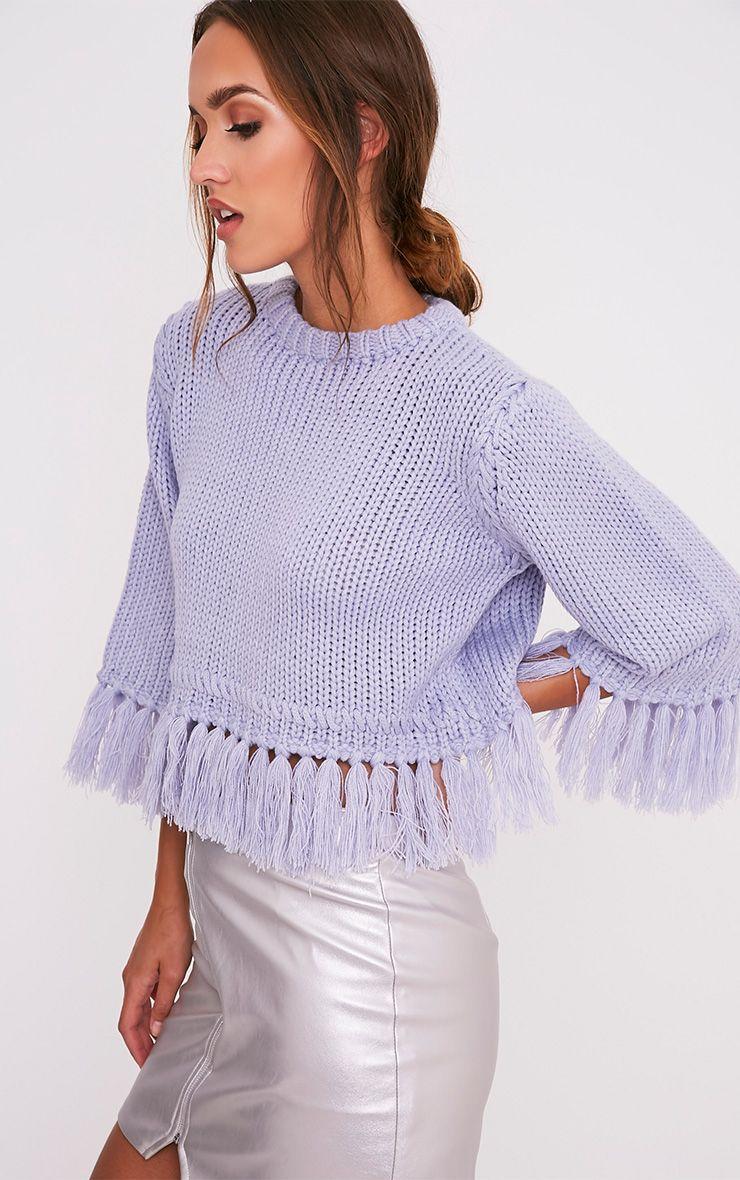 Shelia pull tricoté court à franges bleu cendré 4