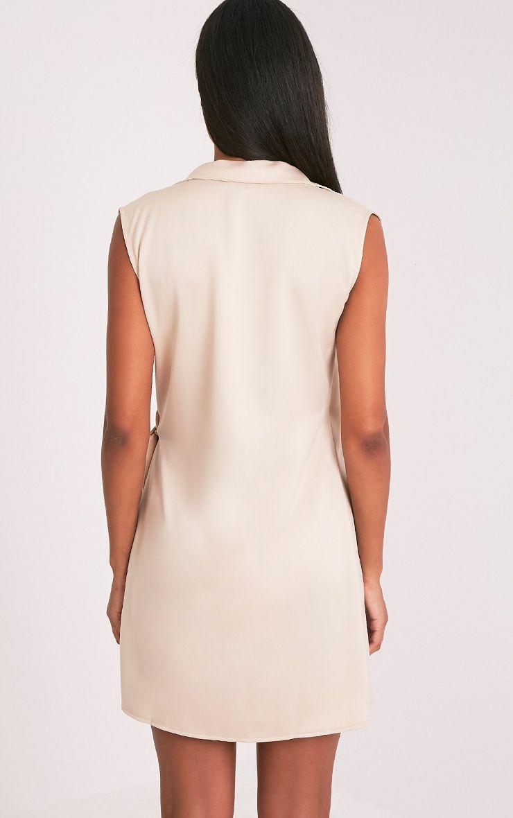Shaylene robe chemise satinée nouée sur le côté sans manches champagne 2
