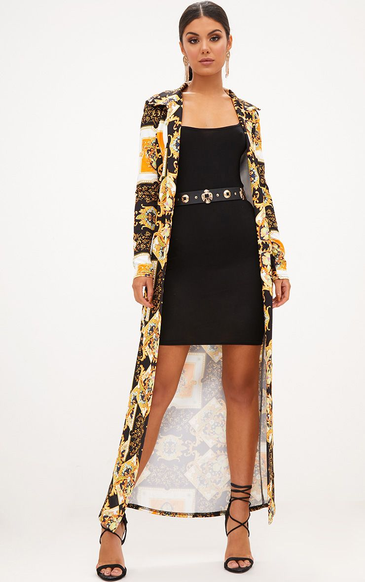 Black Scarf Print Duster Jacket
