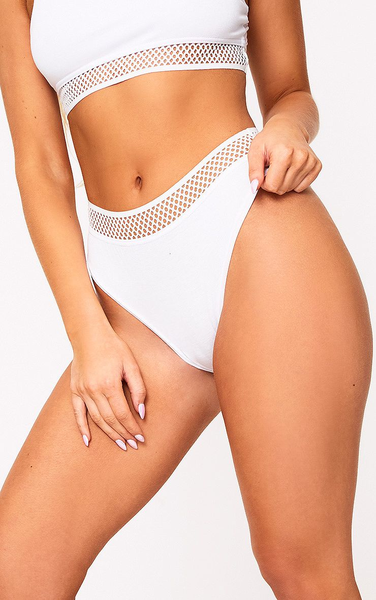 White Mix and Match Fishnet Trim Knickers