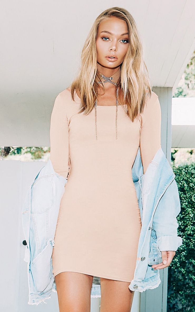 Nude Long Sleeve Bodycon Dress