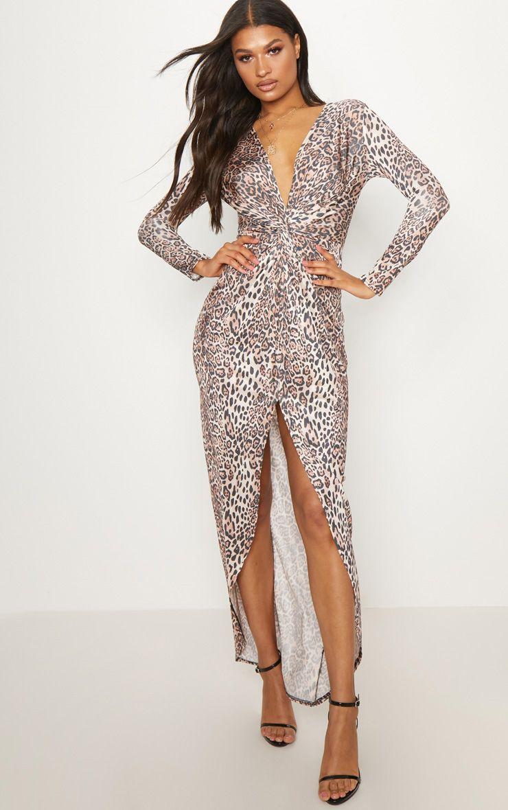 Leopard Print Knot Detail Maxi Dress