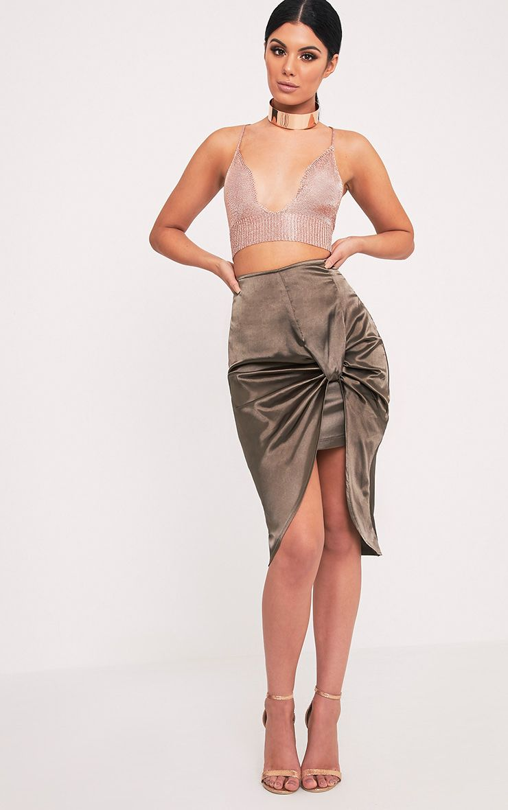 Jainie Olive Satin Ruche Split Midi Skirt