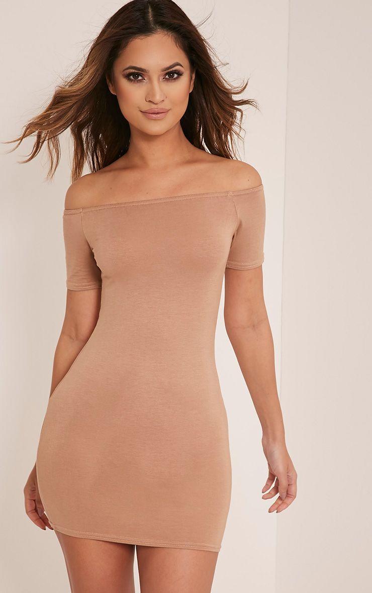 Basic Camel Short Sleeve Bardot Bodycon Dress