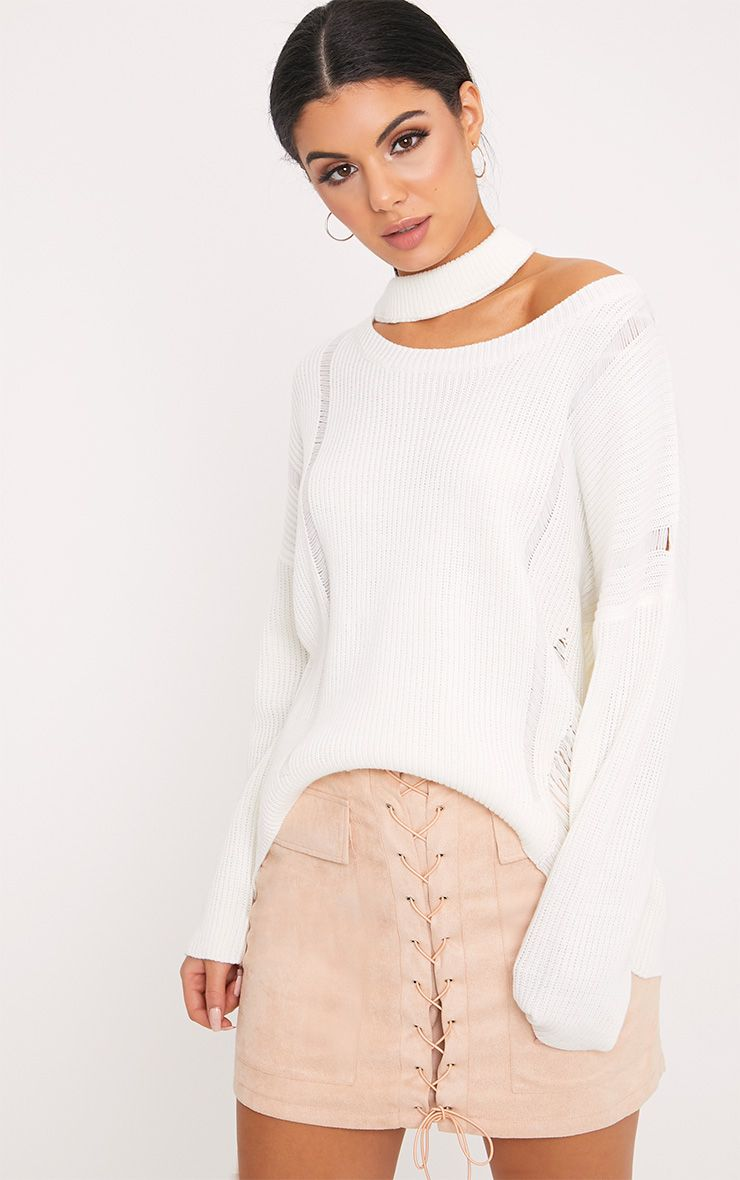 Varsha Cream Distress Collar Detail Jumper