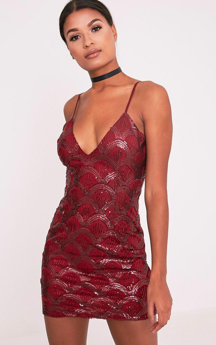 Lanie Burgundy Strappy Sequin Bodycon Dress 1
