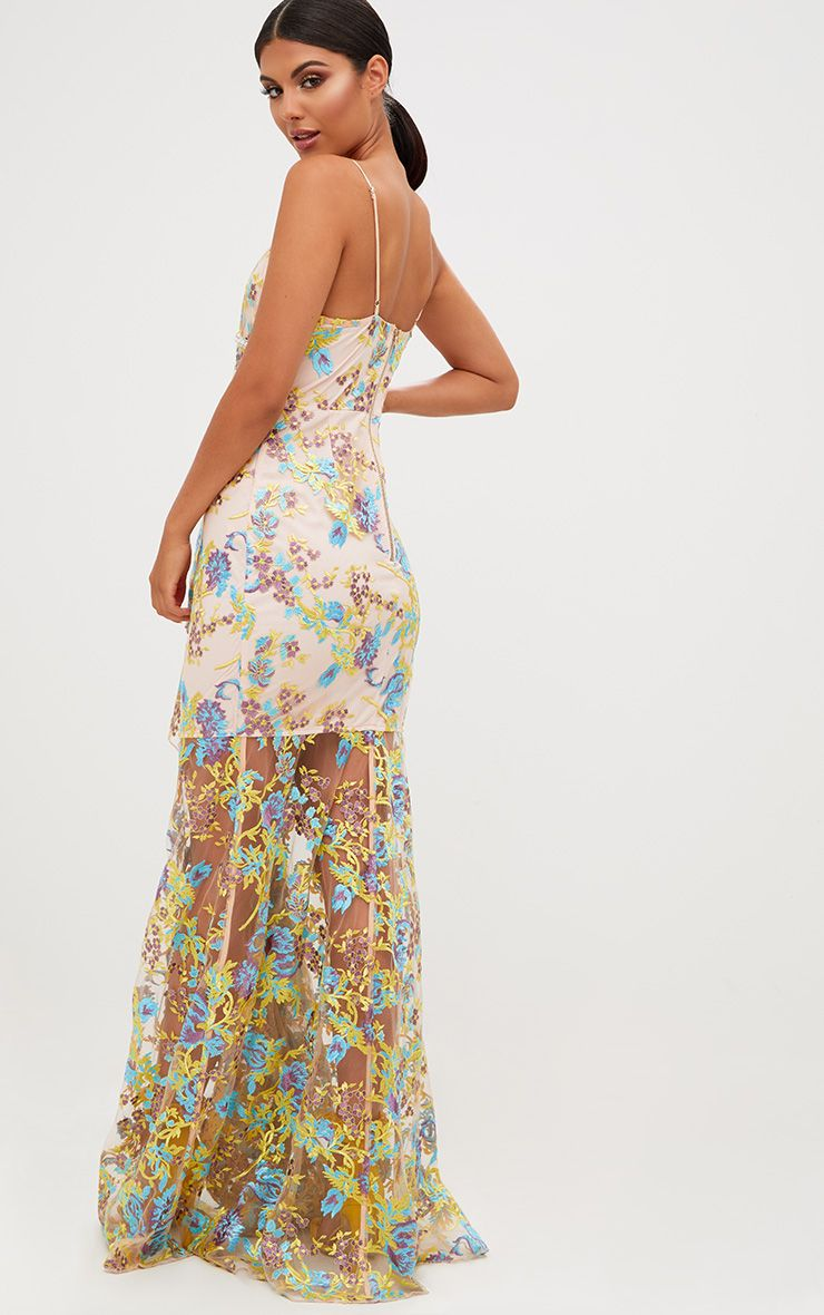 Frock And Frill Embroidered Maxi Dress With Tie Waist - White.