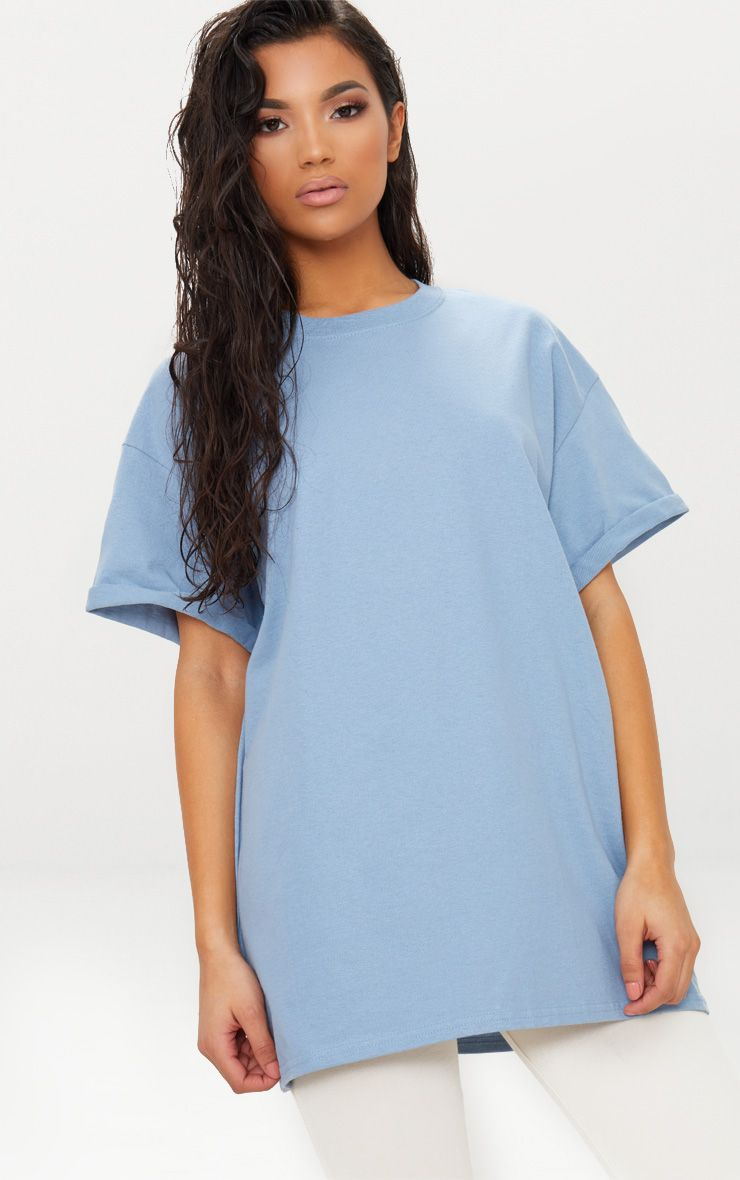 Dusky Blue Oversized Boyfriend T Shirt