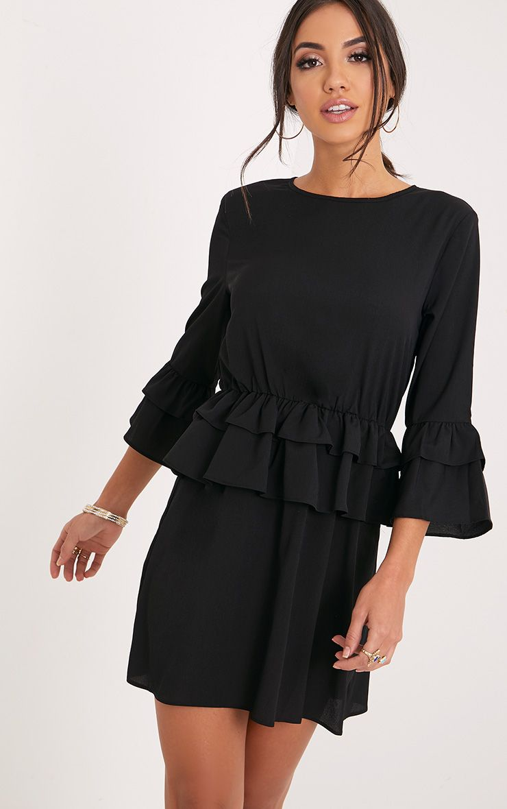 Demi Black Frill Detail Shift Dress
