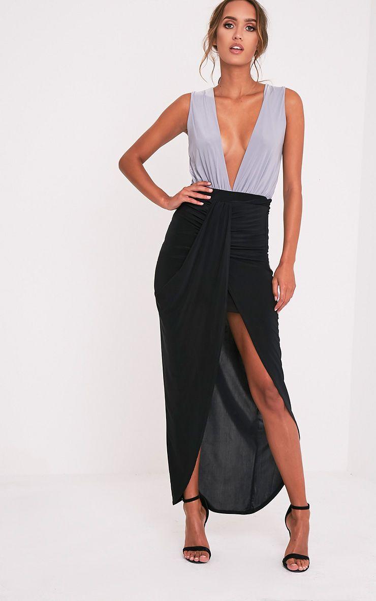 Zelma Black Slinky Drape Maxi Skirt