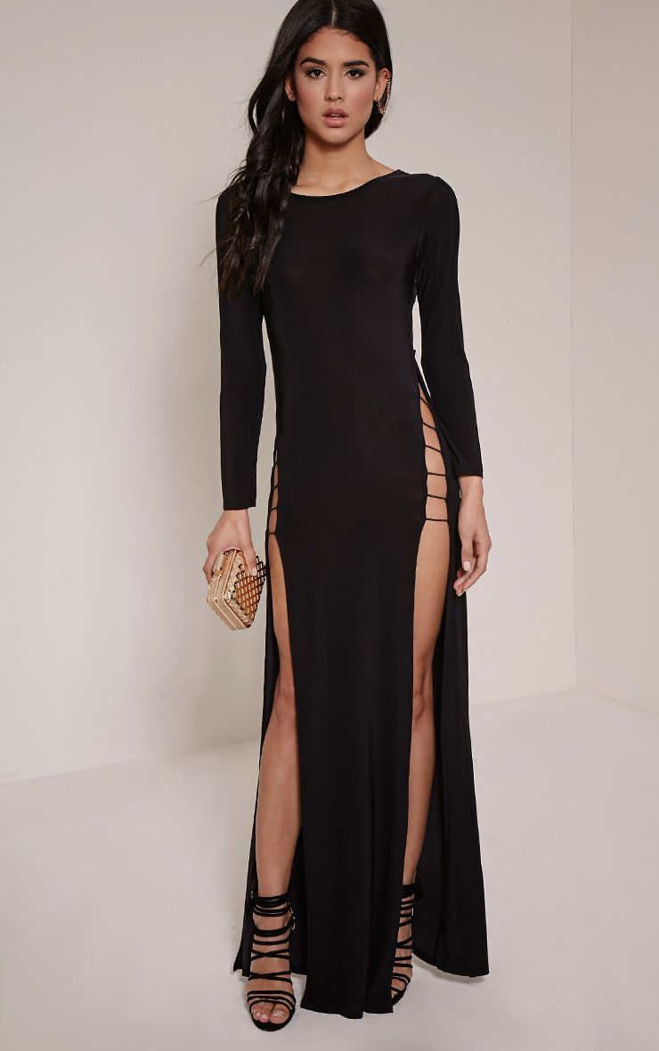 Tyla Black Strappy Back Split Side Maxi Dress 1