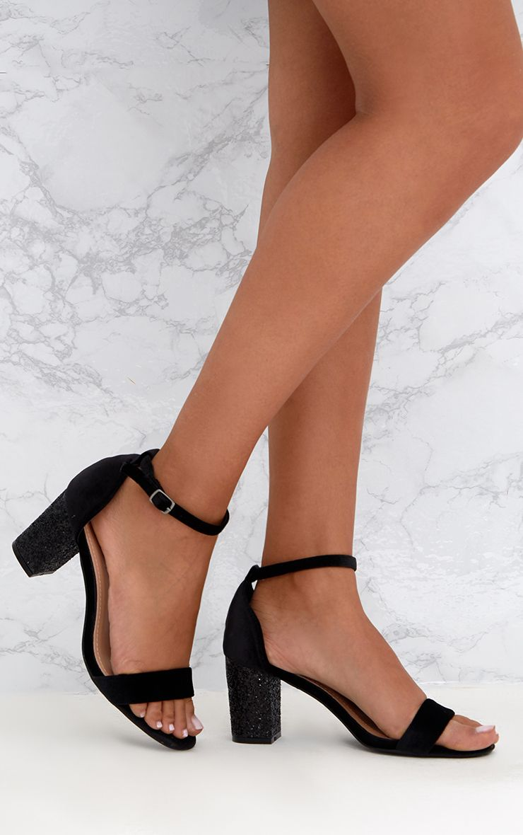Black Glitter Low Heeled Sandals