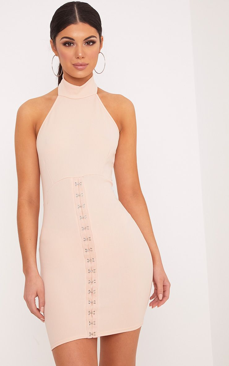 Louisa Nude Halterneck Hook And Eye Detail Bodycon Dress