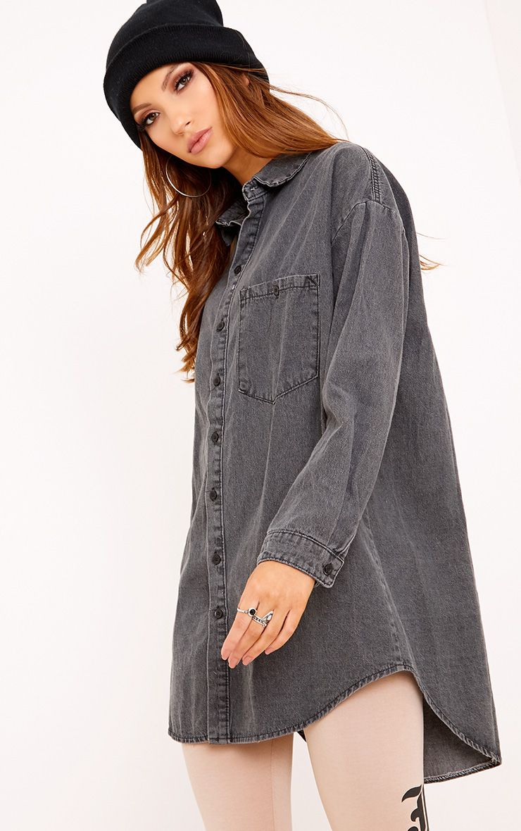 Black Boyfriend Fit Denim Shirt
