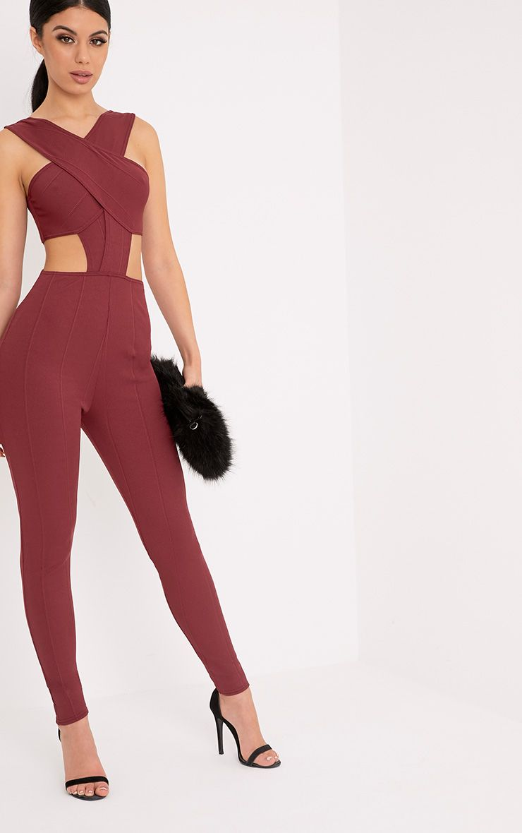 Julia Wine Bandage Jumpsuit