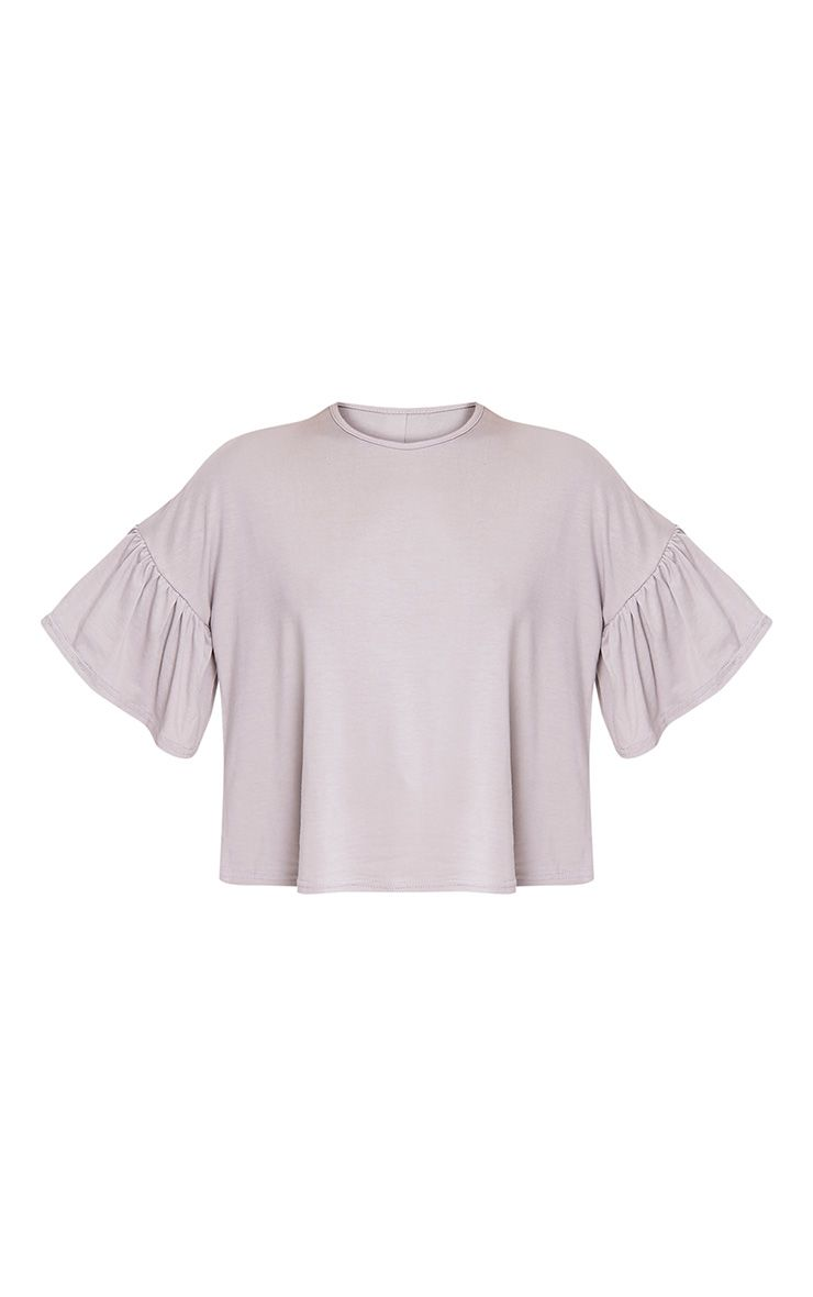 Adnie dove grey frill sleeve t shirt tops for Frill sleeve t shirt