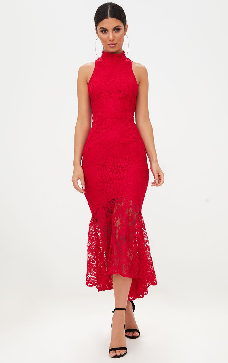 Product photo of Red lace high neck fishtail midaxi dress red