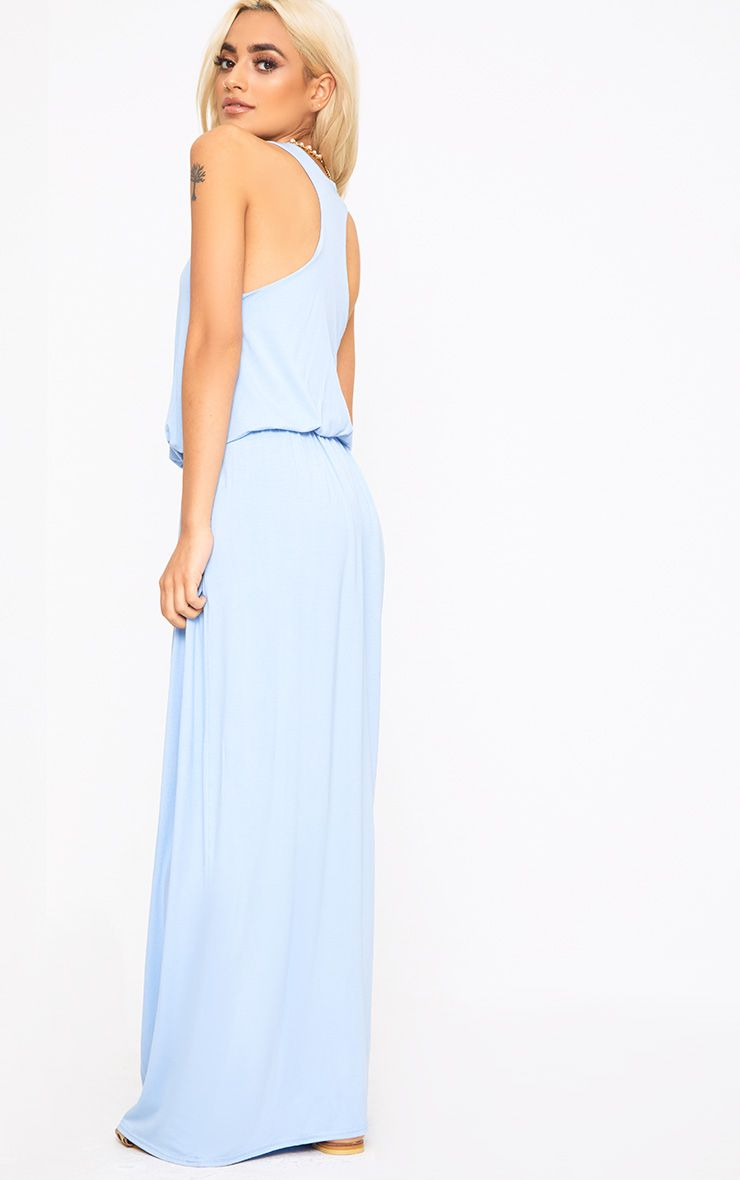 Baby Blue Bagged Over Maxi Dress