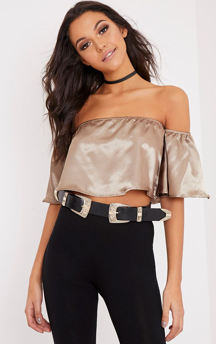 Nori Metallic Satin Bardot Crop Top
