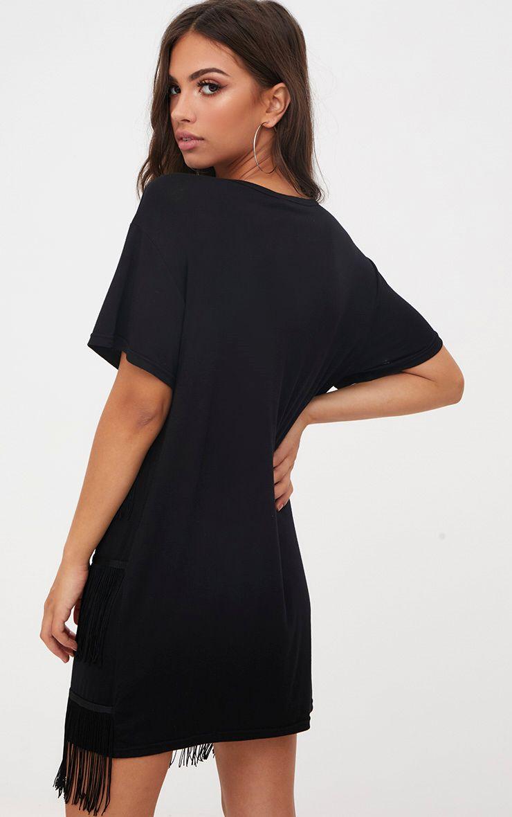 robe t shirt noire franges robes. Black Bedroom Furniture Sets. Home Design Ideas