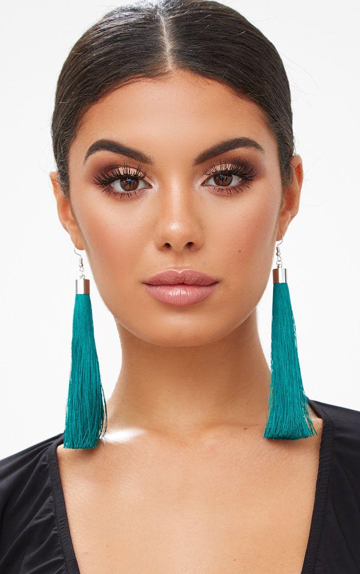 Teal Long Tassel Earrings