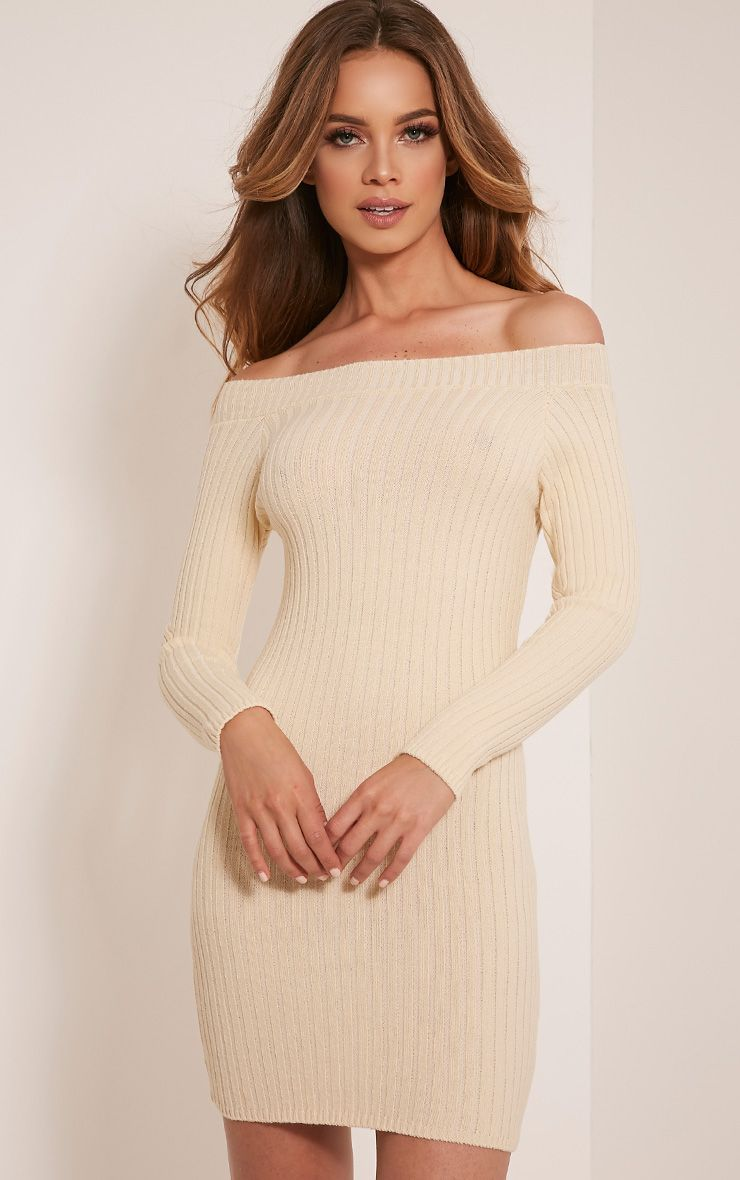 Julia Cream Knit Bardot Mini Jumper Dress