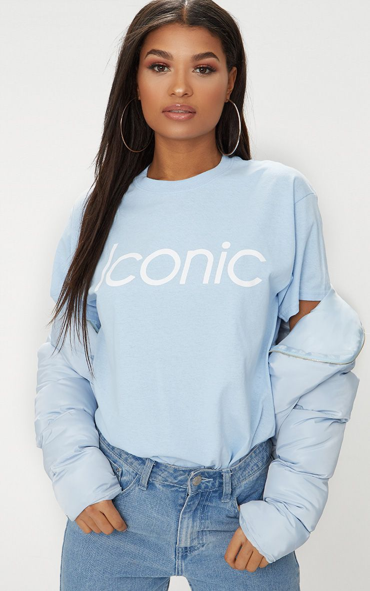Baby Blue Iconic Slogan T Shirt